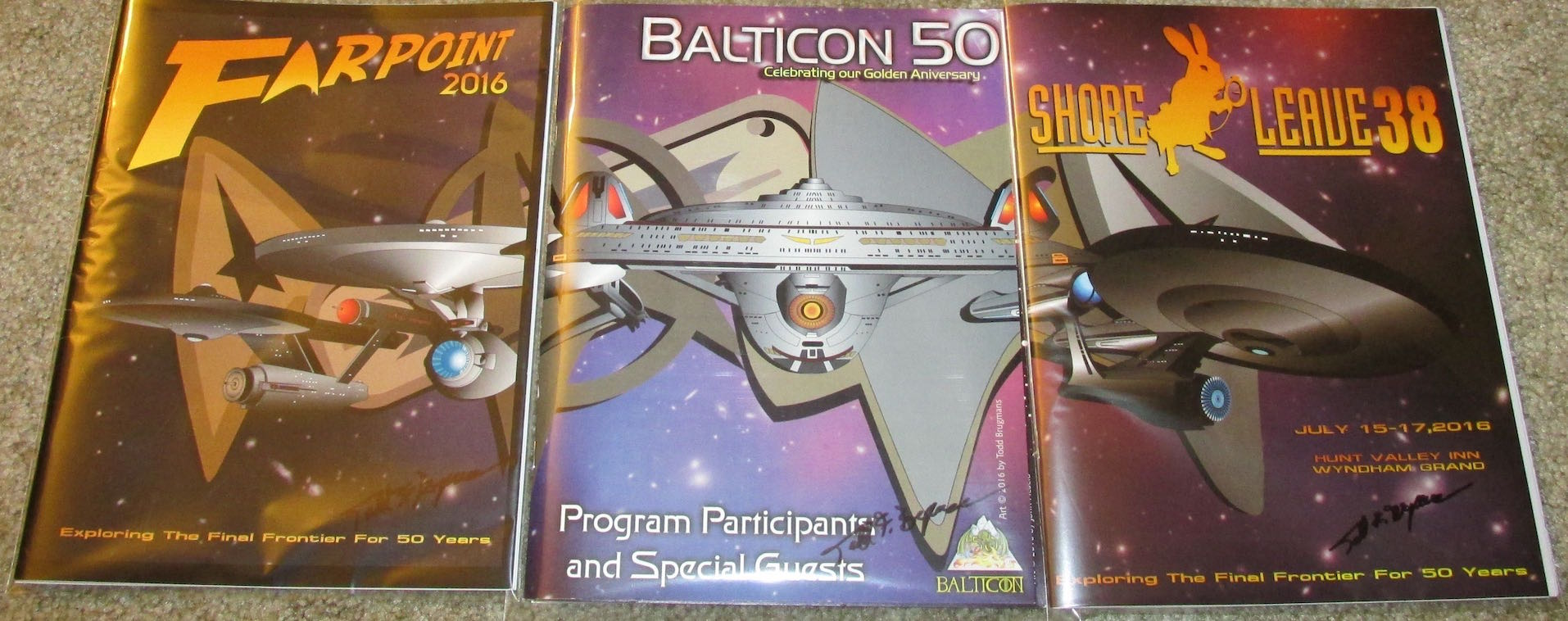 Farpoint, Balticon, and Shore Leave program books